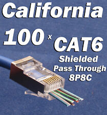 100 CAT6 EZ RJ45 Network Shielded Modular Plug 8P8C Connector End Pass Through