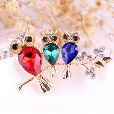 Colorful Cute Owl Brooch Pins Rhinestone Crystal Brooch Women Jewelry X-mas Gift