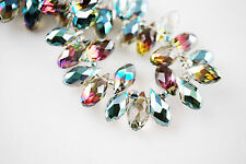 30pcs Hot Colorized Faceted Teardrop Pendant for Earring Findings Beads 6x12mm