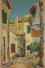"Original LAUTIER France ""St Paul de Vence"" French Village Serigraph Print"