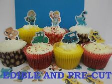 bob the builder X24 edible stand up cup cake toppers, wafer paper *pre-cut*
