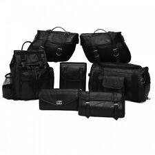 9 Pc Motorcycle Bike Leather Luggage Saddle bags, Barrel Bags Backpack Set NEW