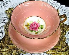 PARAGON TEA CUP AND SAUCER PINK ROSE  PINK TEACUP RAISED EMBOSSED WIDE MOUTH
