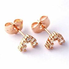 """Fashion Women Rose Gold Filled cute """"V""""Pattern clear crystal small stud earrings"""