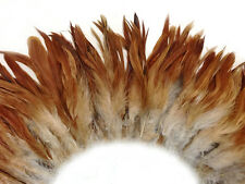 4 Inch Strip - Natural Red Strung Rooster Schlappen Feathers