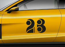 RACE NUMBERS retro 01. Custom car vinyl door sticker. Track trails transfer.