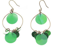 Ladies Green Refined Rustic / Bronze Circle Shimmering Hoop Earrings (Zx61/62)