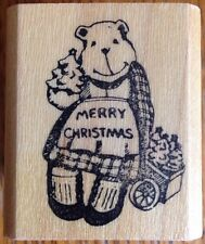 Merry Christmas Teddy Bear Rubber Stamp Fearless Design