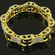 Men's Gold Plated Dome Hollow Bracelet Iced Out Kodak Clear Cz Link Hip Hop 9""