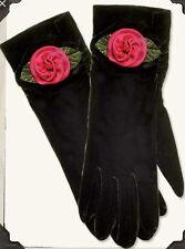 NEW Hopeless Romantic Silk Roses Black Velvet Gloves $29.99 NWT