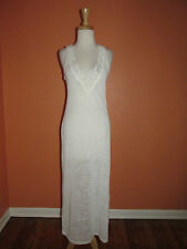 New Solitaire Swim Size M White Crochet Lace Trim Long Dress Swim Coverup