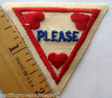 "Girl Scout 1989-1998 Brownie MANNERS TRY-IT ""Please"" Red Heart Badge Patch"