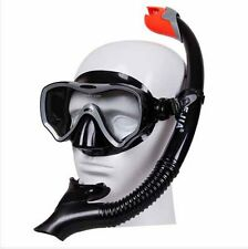 JIAJIE Tempered Glass Lens Diving Mask and Large Bore SCUBA Snorkeling Combo Set