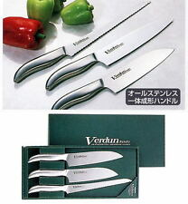 Set of 3 Stainless Steel Japanese Kitchen Knives - Santoku, Chefs & Bread