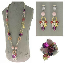Italian Made Designer Fashion Costume Jewelry Set: Necklace Earrings Ring