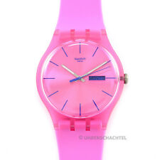 Swatch Uhr New Gent PINK REBEL  SUOP700 Silikon Analog Quarz  NEU