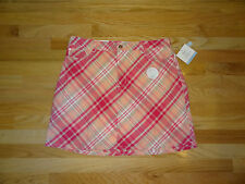 New Croft & Barrow Womens Stretch Skort Skirt w/Shorts Pink Beige Plaid 16 $36