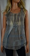 TINY FROM ANTHROPOLOGIE Glinting Organza Watercolor Overlay Top Blouse Small