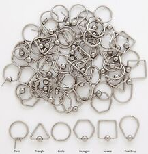 1 Pair 14g 316L Unique Shaped Captive Ear Nipple Hoops Eyebrow Lip Rings HEXAGON