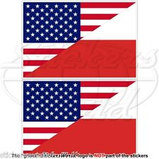 USA United States America-POLAND American & Polish Flag 75mm Stickers Decals x2