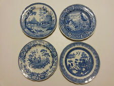 """4 Spode Dinner Plates The Blue Room Collection England 10 1/2"""" Hand Engraved"""