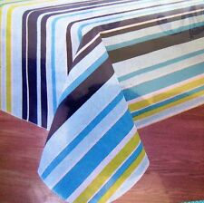 Tablecloth Summer Stripe Vinyl With Polyester Backing 60 inch Round