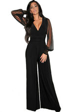 Embellished Cuffs Long Mesh Sleeves Jumpsuit Dress Black Medium