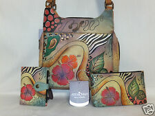 Anuschka 3Pcs Set  Med Handbag / Purse & Wallet & Cosmetic Bag Floral Abstract