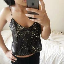 ZARA BLACK SEQUIN SEQUINNED CROPPED TOP SPARKLE SIZE MEDIUM REF 1165/076