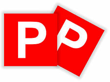 P plate stickers RED, decal Brand NEW 100% legal x2 pack STICK ON Not Magnetic