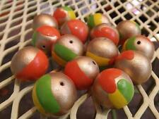 (15) VTG  GOLD PAINTED WITH SPLASHES OF COLOR FUN UNUSUAL 20mm WOOD BEADS CRAFTS