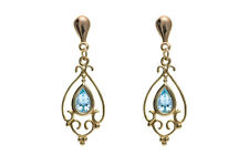 9ct Yellow Gold Victorian Style Real Blue Topaz Drop Earrings - Made in England