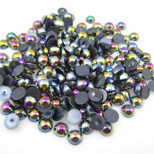 100pcs Half Pearl Round Bead Flat Back 6mm Scrapbook for Craft Black AB BAE35