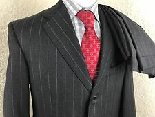Oxxford Gray Striped 3 Button Suit Mens 40R 35 X 31 Working Cuffs Dual Vented