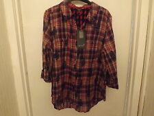 SIZE 18 COTTON PER UNA TARTAIN BLOUSE MARKS AND SPENCER