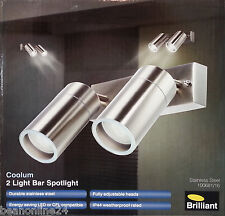 LED Stainless Steel Outdoor Adjustable Exterior Wall Light Set 2 x 9W GU10 240V