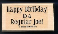 HAPPY BIRTHDAY TO A REGULAR JOE! coffee pun card Words STAMPIN' UP! RUBBER STAMP