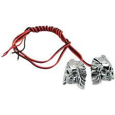 Dadi Perni Portatarga Teschio Skull Led Blu Harley Sportster Touring Dyna Softai