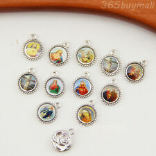 Wholesale 100pcs Round Catholic Religious Holy Medals Charms Crucifix 12MM
