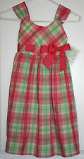 NWT Bonnie Jean Easter Spring Plaid Sundress Accented with Bow at Waist - Size 7