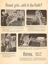 1944 WW2 era AD Royal Typewriters  Art harassed Secretaries Buy War Bond 030317