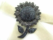Sunflower Blue Swarovski Element Austrian Crystal Rhinestone Brooch Pin