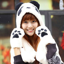 Lovely 3 in 1 Plush White Panda Warm Hat Soft Hat + Scarf + Gloves Girls Gift