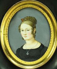 !Antique Ea.1800's FINE Hand Painted Miniature Portrait of a Young Lady, Framed