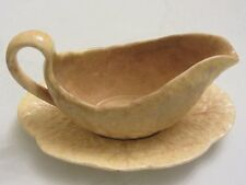 DEVON WARE FIELDINGS - DARK CREAM - SAUCE BOAT  and SAUCER cabbage leaf