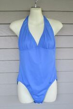 J. Crew Womans Lovely Blue Halter One-Piece Maillot Swimsuit  L - USA made