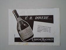advertising Pubblicità 1940 COGNAC CARPENE' MALVOLTI