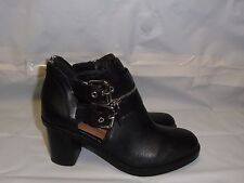DV by Dolce Vita Clark Booties Black Leather Buckles & Zipper Size 6 NWOB