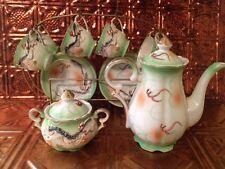 Vintage Green Gold Leaf Dragon Tea Pot Cup Saucer Sugar Set Wire Rack Japan