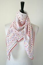 Vintage silk scarf - Ivory / Red Geometric Border Print - 1970s - Large